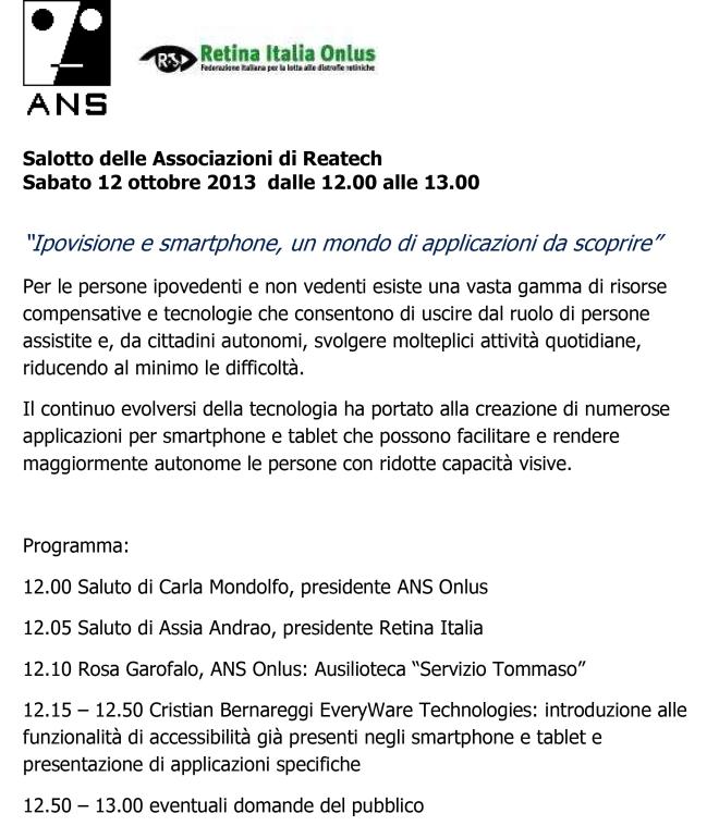 programma 12-10-2013 Salotto Associazioni Reatech