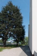 Il fronte dell'ingresso. In origine sotto gli alberi avrebbe dovuto esserci un parcheggio d'auto. Per ora non è stato realizzato perchè l'utenza non è ancora al massimo della capienza.