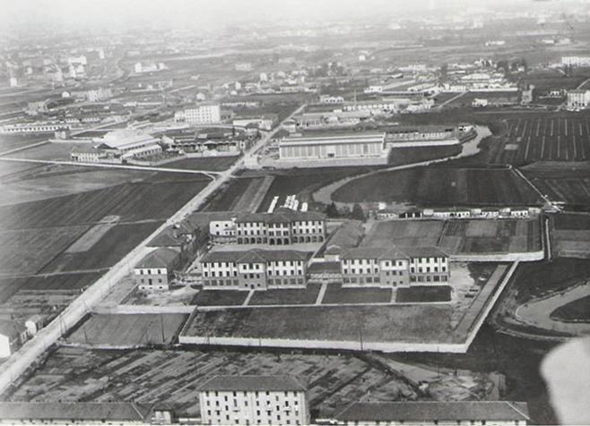1932 vista aerea del nuovo orfanatrofio Martinitt, via Pitteri 56